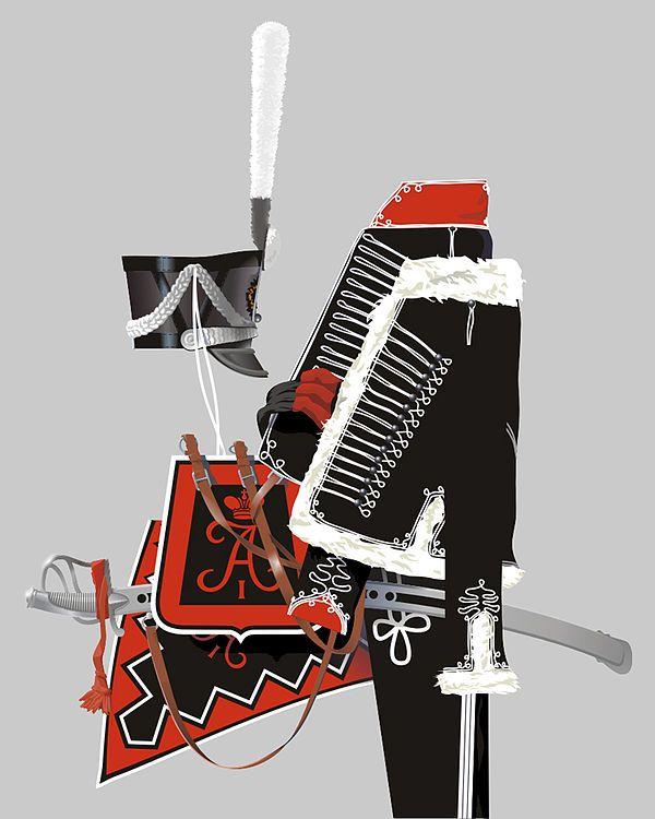 Форма одежды «чёрных гусар» — Александрийского полка, 1812 год.