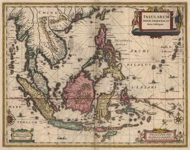 Antique map of South East Asia by Jansson free printable