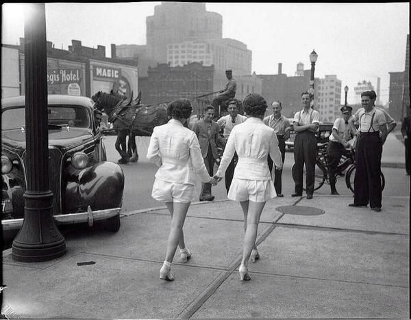 """In 1937, two women wore shorts out in public for the first time. They drew a huge amount of male attention. // City of Toronto Archives,1937 """"Alexandra Studio."""""""
