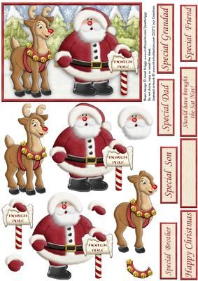 SANTA RUDOLPH SHOULD HAVE BROUGHT THE SAT NAV decoupage on Craftsuprint designed by Janet Briggs - Christmas topper with step by step decoupage. Features Santa and Rudolph the reindeer, checking the sign for North Pole. Could be used as a large topper on an A6 card, or use on an A5 card with your own papers etc. Several sentiment tags included. 1 blank for your own greeting. The others read Special Brother, Special Son, Special Dad, Grandad, Special Friend, Happy Christmas and Should have…