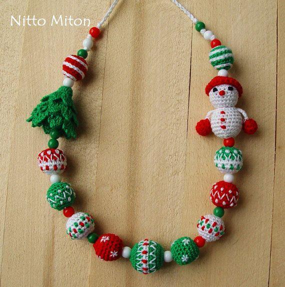 Soins infirmiers collier dentition allaitement collier écharpe au Crochet, le portage de bébé accessoire soins infirmiers collier pour Perle en bois de maman Noël Nouvel an