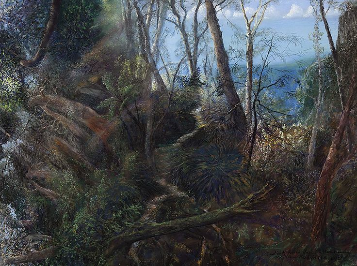 William Robinson (Australian, b. 1936), Sunlight after Rain, Tallanbanna, 2001. Pastel on paper, 57 x 75 cm.