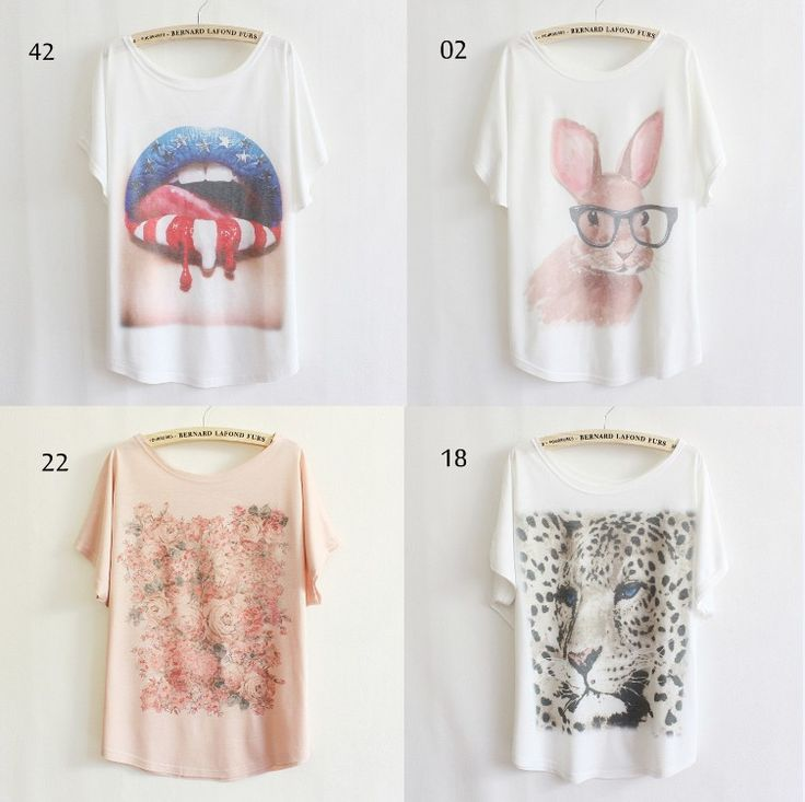 [Magic] 2013 thin plus size loose batwing sleeve women's short-sleeve T-shirt print tee womens t shirt 53 models free shipping US $7.80