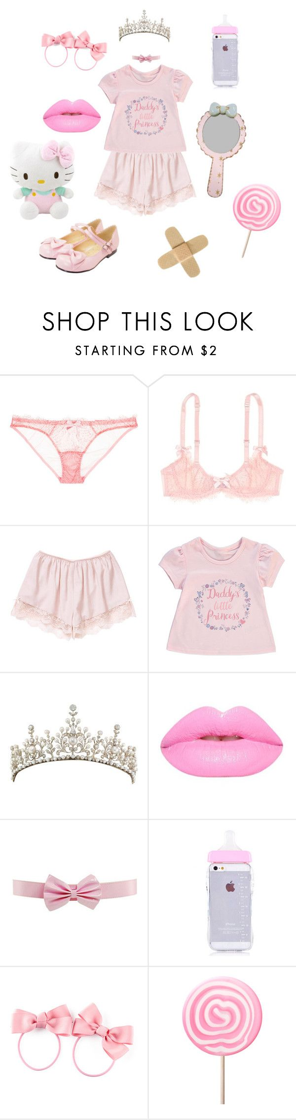 """Lilli's OOTD 3"" by cosmic-sky ❤ liked on Polyvore featuring L'Agent By Agent Provocateur, George, H&M, Hello Kitty, Pink and ddlg"