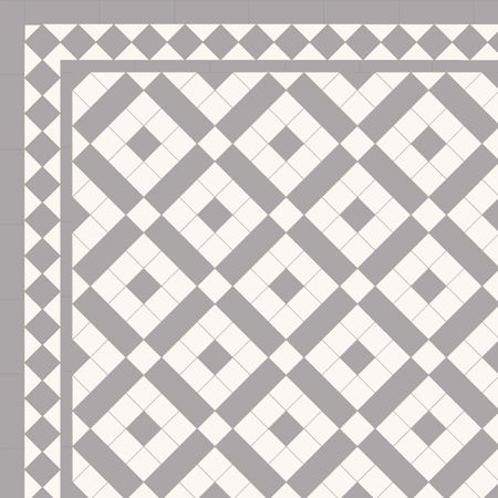 Pattern using 2 x 2 tiles- London Mosaic Victorian tile design: Colliford 50 - multi coloured monochrome, traditional victorian, floor tiles