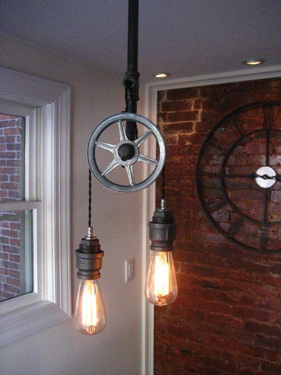 Pulley Light Metal Light Steampunk Ceiling Light
