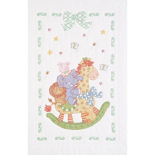 <li>Commemorate the birth of special babies with a delightful crib quilt top <li>Crafts package contains one crib top of cotton/polyester broadcloth <li>Sewing accessory includes other items needed to complete the quilt