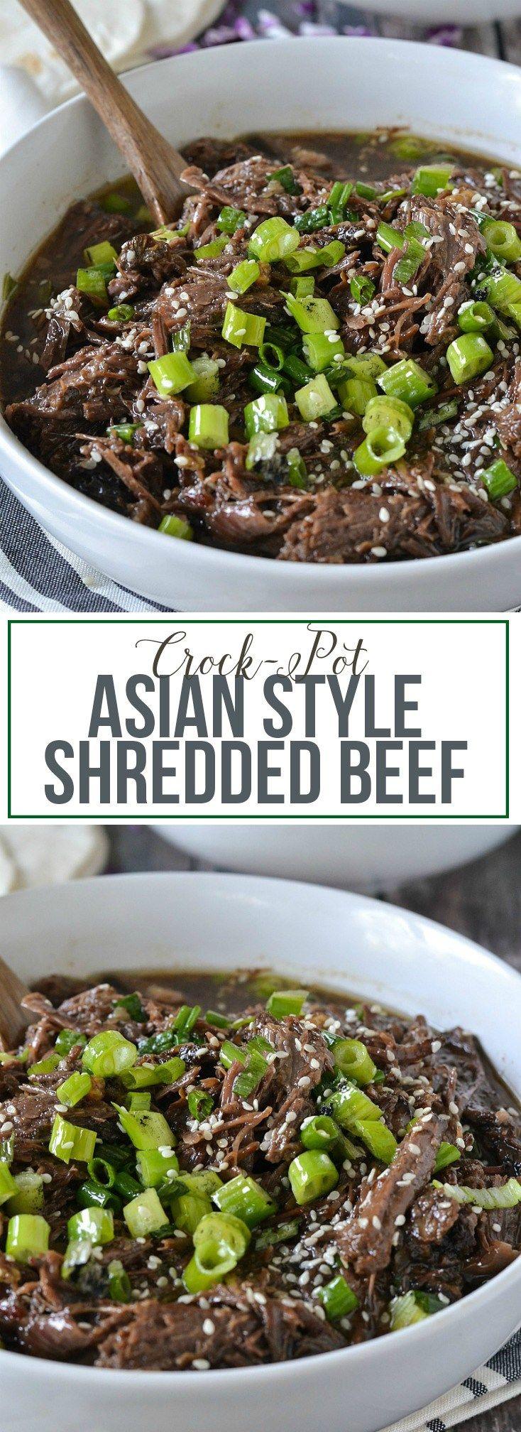 Crock Pot Asian Style Shredded Beef #CrockPotRecipes