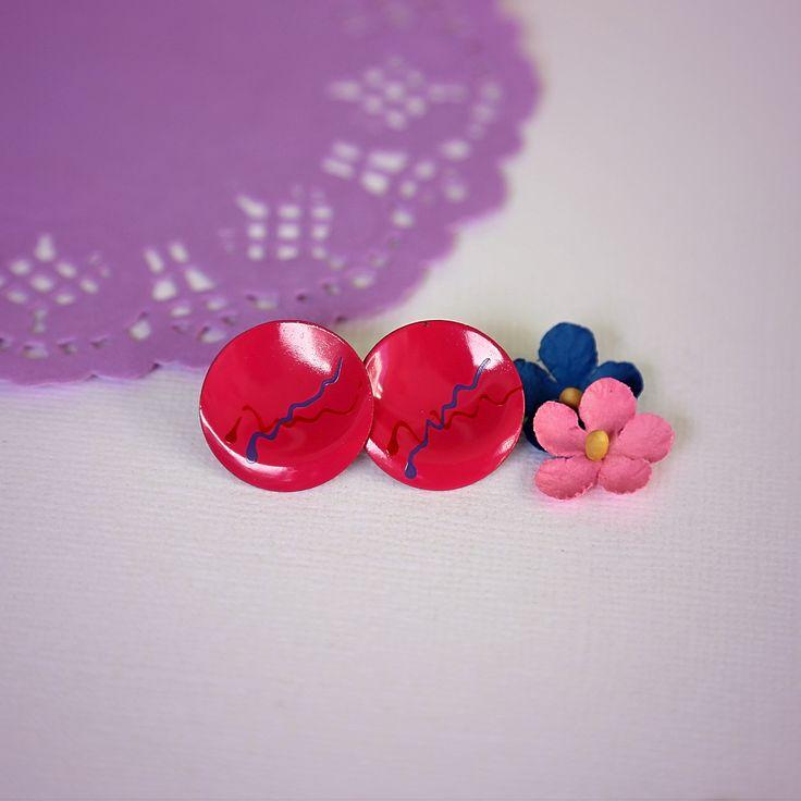 Hot Pink Vintage 80's Earrings