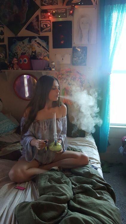 ganja babe smoking a bong