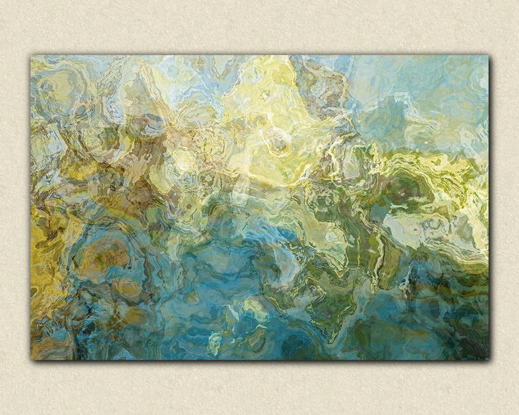 30x40 $250  Abstract expressionism canvas print in aqua and white