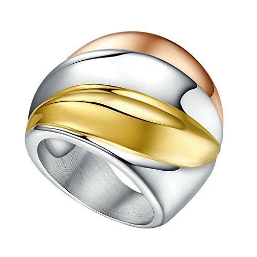 Aooaz Schmuck Damen Ring,Drei Töne Versprechen Klassisch Edelstahl Ehering Verlobungsringe für Damen