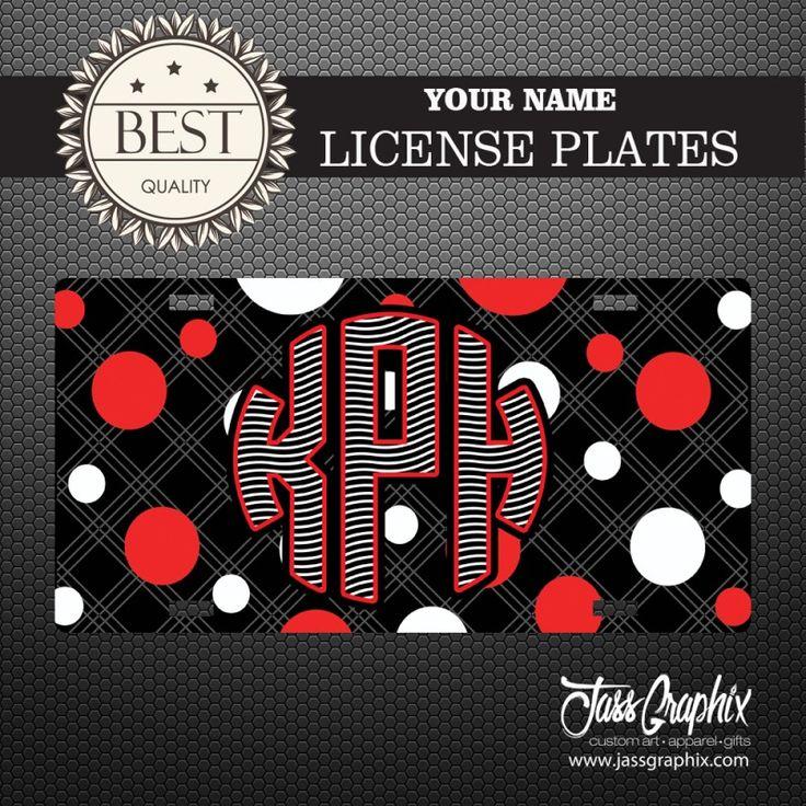 "#Zebra #Stripe License Plate with #Polka Dots. #Personalized Car Tag – Zebra Stripe License Plate with Polka Dots Universal Fit 6"" x 12"" Aluminum License Plate Personalized #Monogrammed Cute Car Tag UV High Gloss Vibrant Colors"