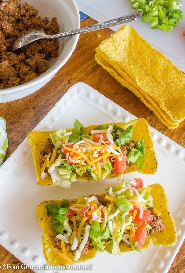 How to make tacos with flat bottom taco shells with Four Generations One Roof