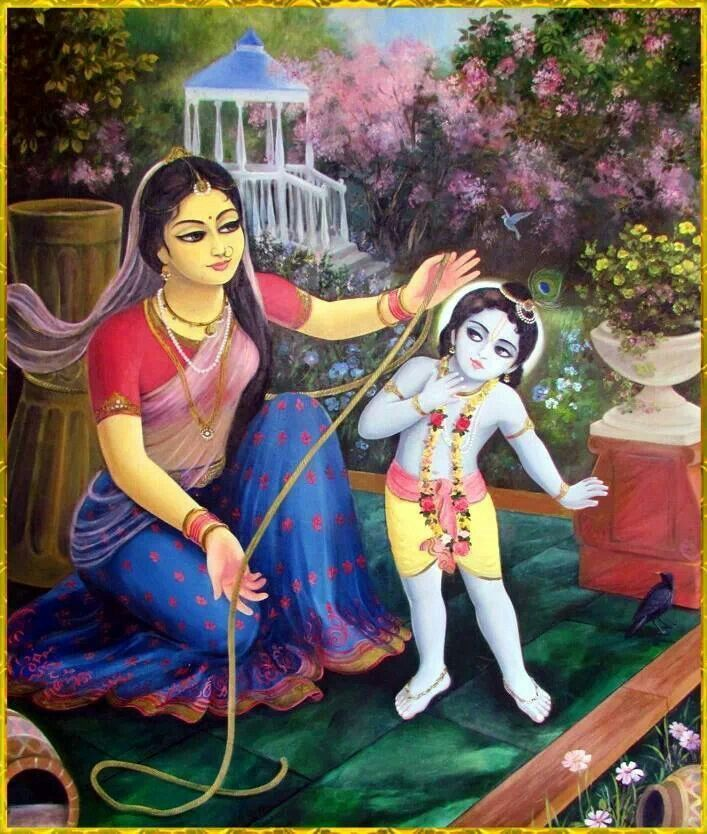 Chapter 9: [Mother Krishna Binds Lord Krishna] In attempting to bind her son, she became tired. She was perspiring, and the garland on her head fell down. Then Lord Krsna appreciated the hard labor of His mother, and being compassionate upon her, He agreed to be bound up by the ropes. Krsna, playing as a human child in the house of mother Yasoda, was performing His own selected pastimes.