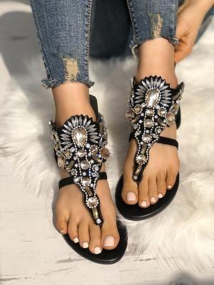Exaggerated Rhinestone Patchwork Toe Post Flat Sandals (US4.5 US5.5 US6 US7 US8 US8.5)   56.99 a424af3bbc0c