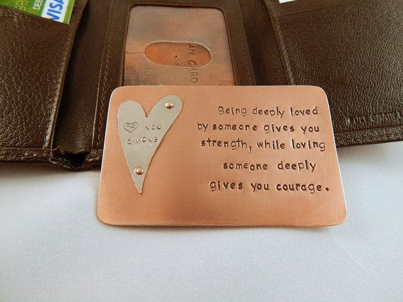 "Wallet ""Credit Card"" note made of Copper and Hand Stamped with up to 250 characters!! - Great gift idea!!!"