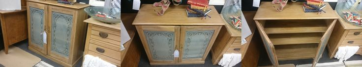 We have this very nice hard wood cabinet with frosted glass doors, we're not 100% sure but we believe it may be Elm. Measurements depth 40cm length 95 height 93cm  Price £175