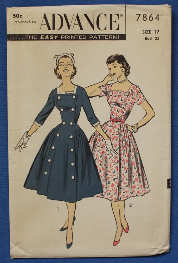 Rare Vintage Sewing Pattern For Dior Influenced Day Dress With Etsy Vintage Dresses Vintage Sewing Vintage Sewing Patterns