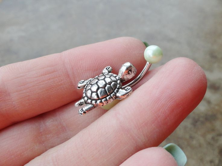 Silver Turtle Belly Button Ring Light Green Pearl Jewelry. $15.00, via Etsy.