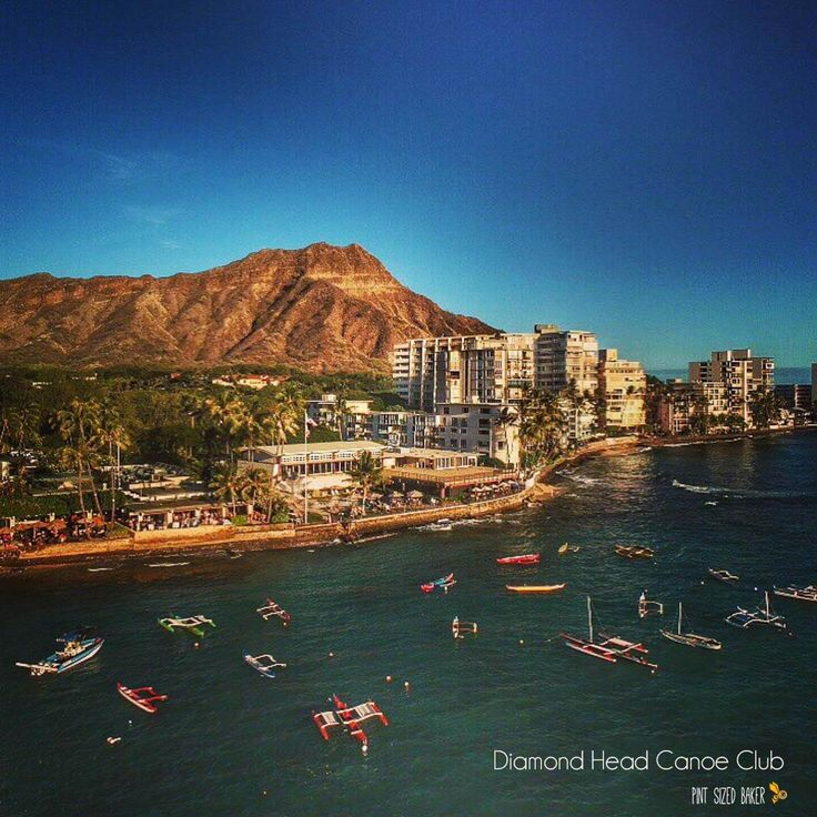At the base of Diamond Head is the Honolulu Canoe Club. Have a bite to eat and watch all the boats come and go. Droning over Oahu  #Oahu #Hawaii #DJIDrone #AerialPhotography #ocean #landscape