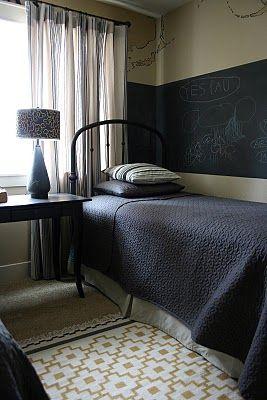 Nice chalk board paint in boys bedroom