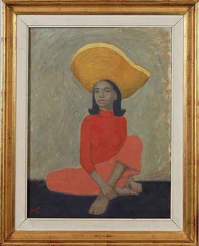 Greta Gerell (1898-1982) Young woman with hat, 1953