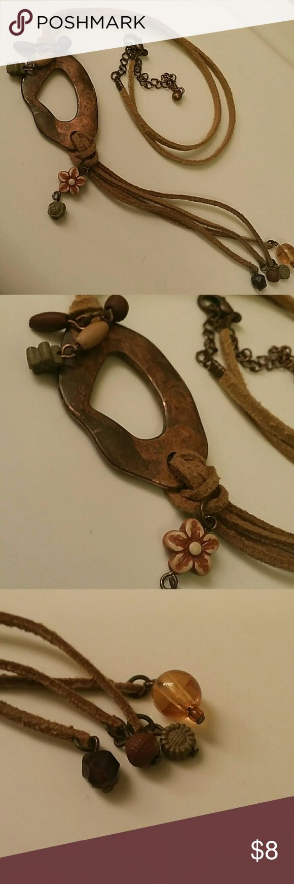 Cute Bead Flower Accent Necklace Brown Bead Flower Accent Necklace Jewelry Necklaces