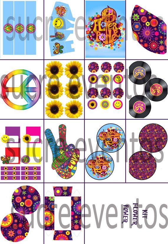 fiesta flower power, fiesta hippie, kit imprimible hippie, hippie party, flower power party, party kit