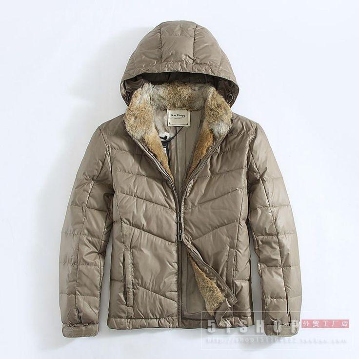 51SHOP оригинальный мужской мужской водонепроницаемый с капюшоном пуховик действительно съемный меховой воротник кролика утолщенной теплой курткой - Taobao