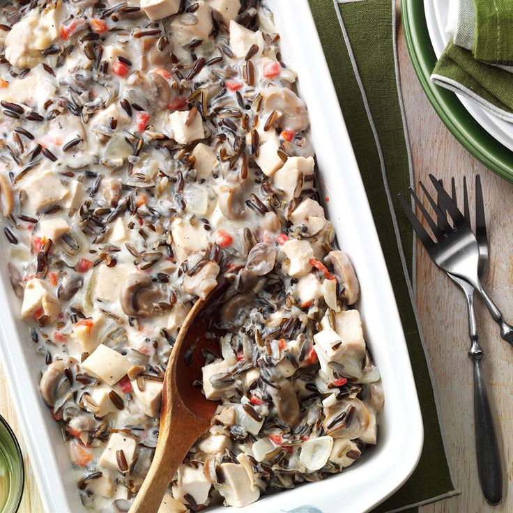Contest-Winning Chicken Wild Rice Casserole Recipe -While this special dish is perfect for a company dinner, it's also just too good not to make often for everyday family meals. We think it is very nice served with some crusty rolls or French bread. —Elizabeth Tokariuk, Lethbridge, Alberta