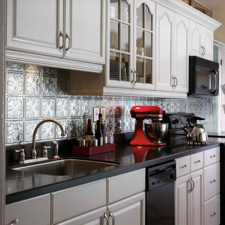 White Kitchens With Tin Back Splash | Tin Backsplash Ideas With Red Mixer