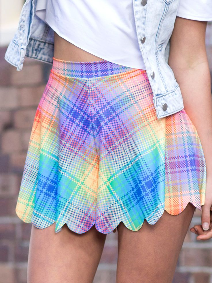 Tartan Rainbow Shorties (WW 48HR $50AUD / US - LIMITED $45USD) by Black Milk Clothing