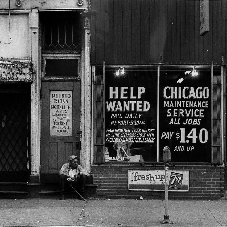 """vintagetribune on Instagram: Another scene from the 1967 essay on Clark Street in the blocks north of the Chicago River. A portion of the text: """"For the most part the merchants remain in their shops selling barbecue beef sandwiches second-hand guitars and cheap muscatel. The prostitutes beckon from the doorways then practice their art in the seclusion of their walk-up bedrooms. The robbers work the night shift keeping mostly in the alleyways."""" Photo by Ron Bailey #clarkstreet #1960s…"""
