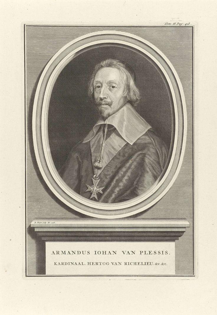Bernard Picart | Portret van kardinaal Armand-Jean du Plessis, hertog van Richelieu, Bernard Picart, 1728 | Portret van kardinaal Armand-Jean du Plessis, hertog van Richelieu. Hij draagt een keten met de Orde van de Heilige Geest.