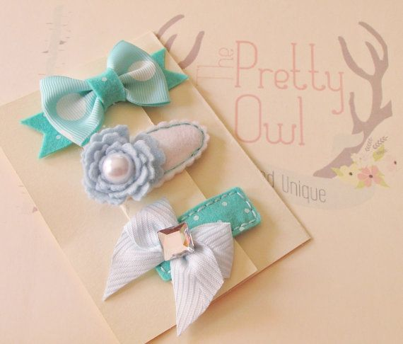 AQUA and BLUE. Baby Hair Clips. Made in Felt and by ThePrettyOwl, $14.95