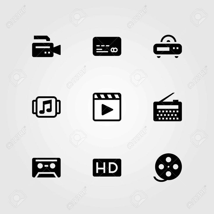 Technology vector icons set. movie player, cassette and film roll , #sponsored, #icons, #set, #Technology, #vector,