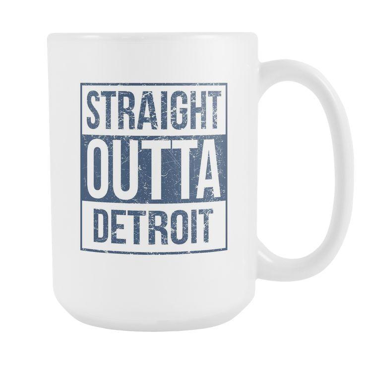 Straight Outta Detroit Baseball Coffee Mug, 15 Ounce