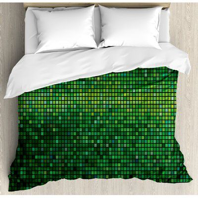 East Urban Home Abstract Lights Square Pixel Mosaic Design Geometric Technology Theme Digital Grid Print Duvet Cover Set Size: Queen