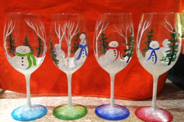 Christmas hand painted wine glasses by whitswineglasses on for Christmas painted wine glasses pinterest