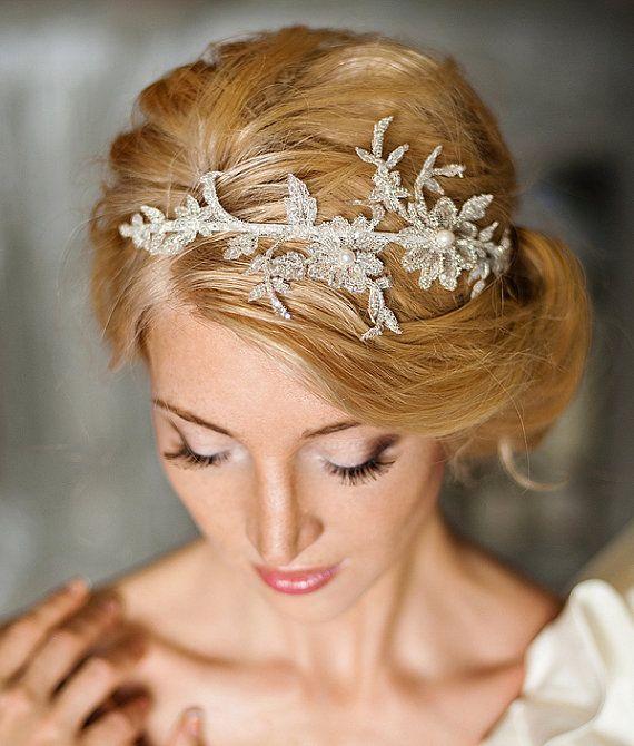 Floral lace headpiece, bridal lace headband-Florentina