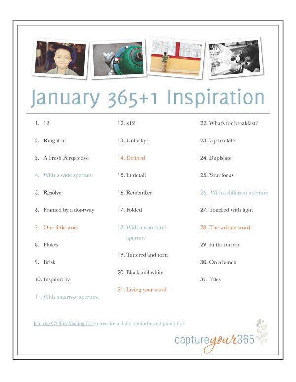 lists of inspiration for photography creativity. you don't need to do a 365 project to complete it-when in a slump pick a few to motivate you to pick up your camera.