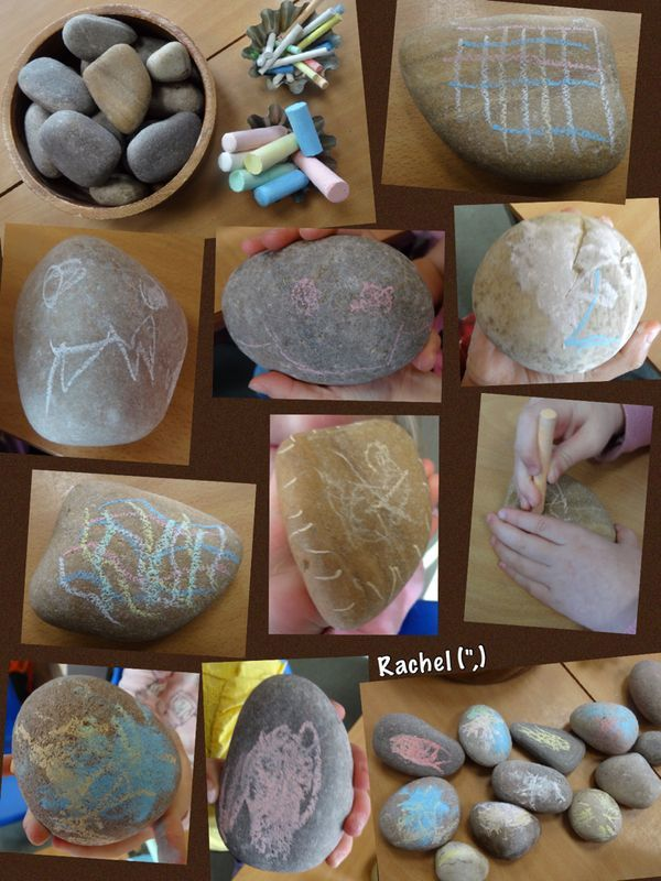 "Mark making with chalk on stones from Rachel ("",)"