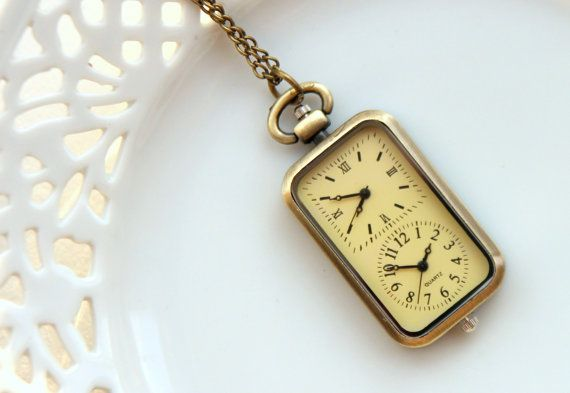 Double Clock Antique Brass Pocket Watch, Vintage Retro Style, Necklace, Steampunk Charm, Great Holiday Gift, Travel (PW04)