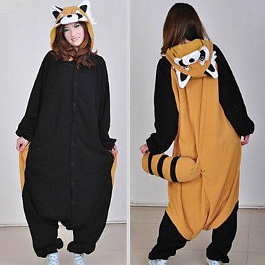 Lindo Raccon Brown y Negro Polar Fleece Kigurumi Pijamas Pijamas Cartoon Animal disfraz de Halloween – CLP $ 17.889