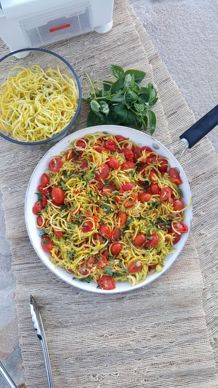 Yellow Summer Squash 'Spaghetti' with Roasted Tomato Sauce | Clean Food Crush