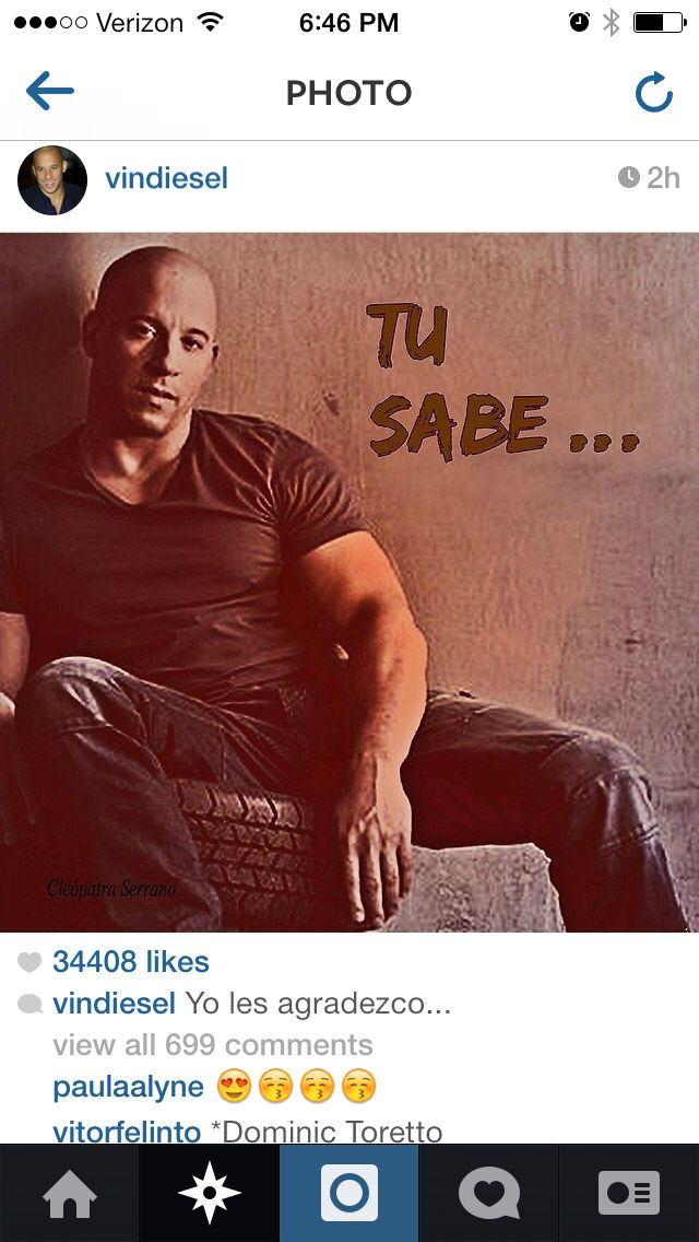 "Vin Diesel broke Instagram!!..Y'all are going to need ""Google Translator"" for this one!!!..LoL..  Ayyyy PAPI!!..Tu Sabes que yo te AMO mucho!!..jejejeje!..☺️Keep the beard!!..I like it a lot!!..(Kaulder)..Ya Tu Sabes Papiiiiii!..Besitos!!..xoxo    #NoTacoTuesday #ItsTorettoTuesday #VinDiesel #FF7 #GOTG #Marvel"