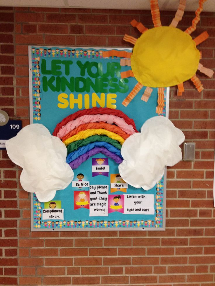 Classroom Decoration Rainbow ~ Let your kindness shine spring bulletin board i m now a