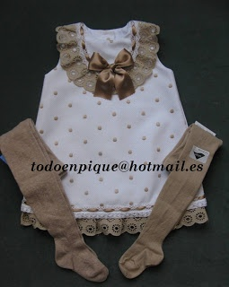 White and camel baby dress