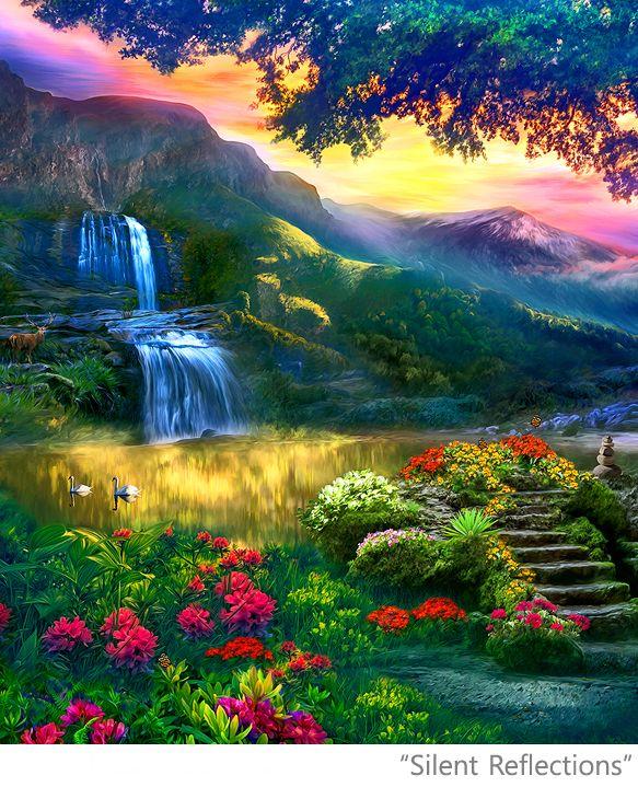 Peaceful Landscape Paintings Posters Artwork Spiritual Art Meditation Yoga Beautiful Large Format Ze Beautiful Nature Beautiful Nature Wallpaper Nature Artwork